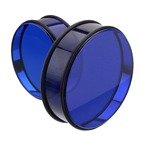 "Supersize Acrylic No Flare Ear Gauge Plug - 1-1/2"" (38mm) - Blue - Sold as a Pair"