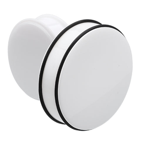 "Supersize Acrylic No Flare Ear Gauge Plug - 1-1/8"" (29mm) - White - Sold as a Pair"