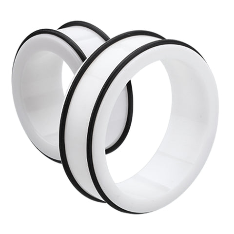 "Supersize Acrylic No Flare Ear Gauge Tunnel Plug - 2"" (51mm) - White - Sold as a Pair"