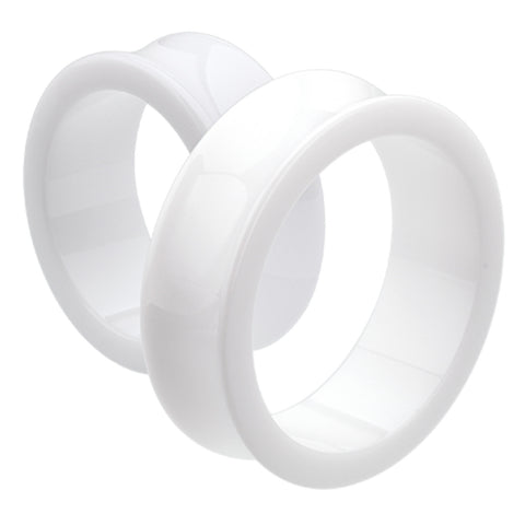 "Supersize Acrylic Double Flared Ear Gauge Tunnel Plug - 1-5/8"" (41mm) - White - Sold as a Pair"