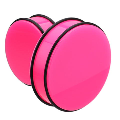 "Supersize Neon Colored Acrylic No Flare Ear Gauge Plug - 1-1/4"" (32mm) - Pink - Sold as a Pair"