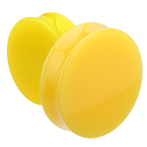 "Supersize Neon Colored Acrylic Double Flared Ear Gauge Plug - 2"" (51mm) - Yellow - Sold as a Pair"