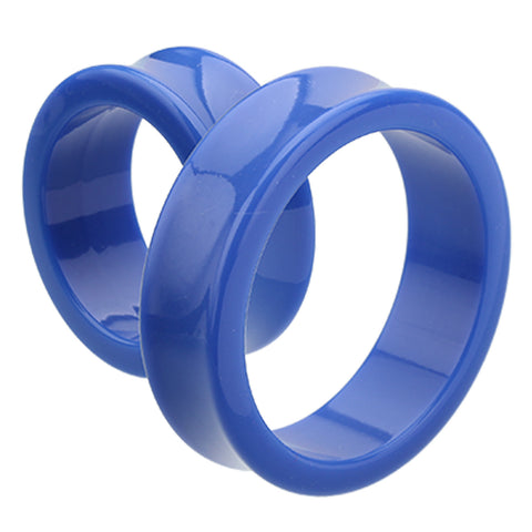 "Supersize Neon Colored Acrylic Double Flared Ear Gauge Tunnel Plug - 1-1/4"" (32mm) - Blue - Sold as a Pair"