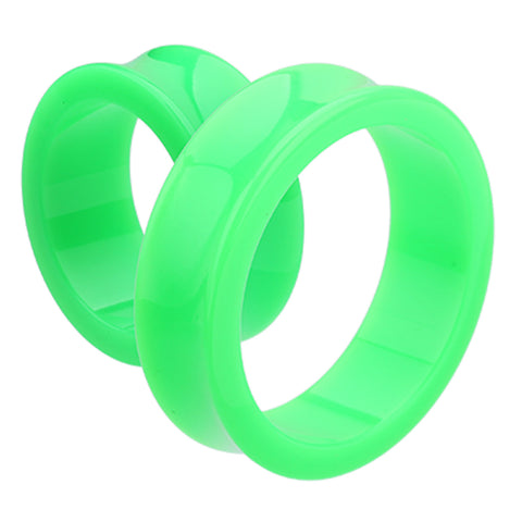 "Supersize Neon Colored Acrylic Double Flared Ear Gauge Tunnel Plug - 1-3/8"" (35mm) - Green - Sold as a Pair"