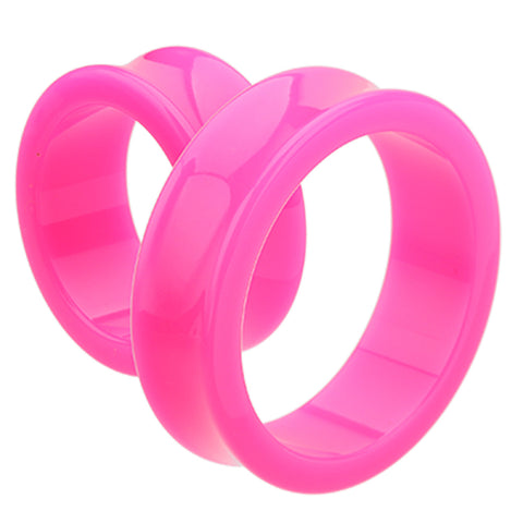 "Supersize Neon Colored Acrylic Double Flared Ear Gauge Tunnel Plug - 1-3/8"" (35mm) - Pink - Sold as a Pair"