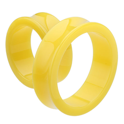 "Supersize Neon Colored Acrylic Double Flared Ear Gauge Tunnel Plug - 1-5/8"" (41mm) - Yellow - Sold as a Pair"