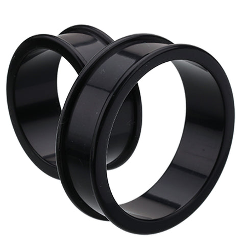 "Supersize Flexible Silicone Double Flared Ear Gauge Tunnel Plug - 1-5/8"" (41mm) - Black - Sold as a Pair"