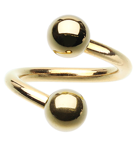 "Gold Plated Twist Spiral Ring - 16 GA (1.2mm) - Ball Size: 5/32"" (4mm) - Sold as a Pair"