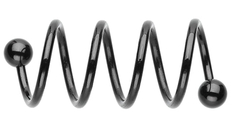Colorline PVD Quad Twist Spiral Ring - 16 GA (1.2mm) - Black - Sold as a Pair