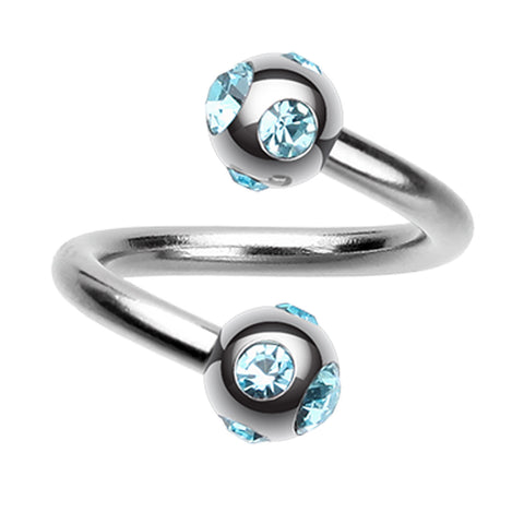 "Aurora Glass-Gem Ball 316L Surgical Steel Twist Spiral Ring - 16 GA (1.2mm) - Ball Size: 5/32"" (4mm) - Aqua - Sold as a Pair"
