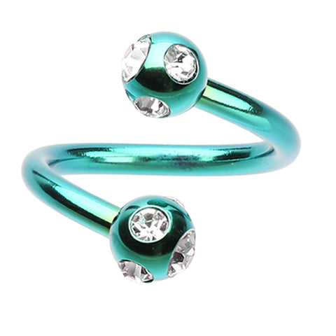 "Blackline PVD Aurora Glass-Gem Ball Twist Spiral Ring - 16 GA (1.2mm) - Ball Size: 5/32"" (4mm) - Green/Clear - Sold as a Pair"