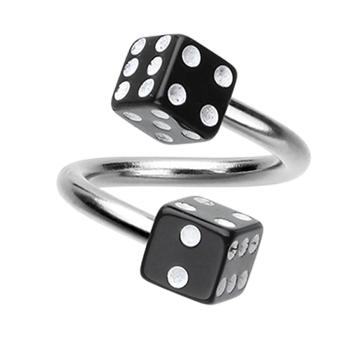 "Double Dice Acrylic Twist Spiral Ring - 14 GA (1.6mm) - Ball Size: 3/16"" (5mm) - Black - Sold as a Pair"