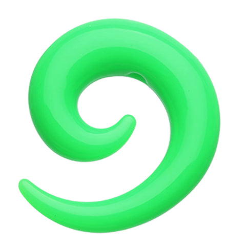 Solid Acrylic Ear Gauge Spiral Hanging Taper - 8 GA (3.2mm) - Green - Sold as a Pair