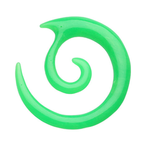 Twirl Fang Spiral Acrylic Ear Gauge Spiral Hanging Taper - 6 GA (4mm) - Green - Sold as a Pair