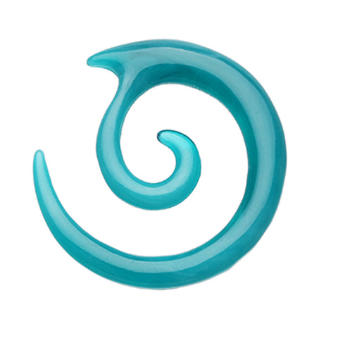 Twirl Fang Spiral Acrylic Ear Gauge Spiral Hanging Taper - 0 GA (8mm) - Teal - Sold as a Pair