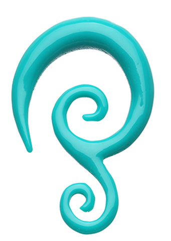 Double Tribal Spiral Acrylic Ear Gauge Spiral Hanging Taper - 14 GA (1.6mm) - Teal - Sold as a Pair