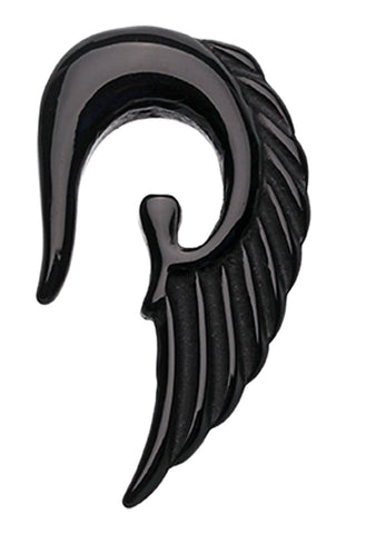 Fallen Angel Acrylic Ear Gauge Hanging Taper - 8 GA (3.2mm) - Black - Sold as a Pair