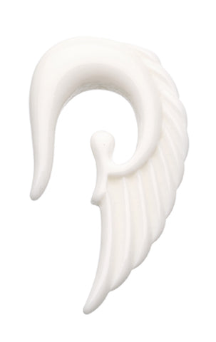 Fallen Angel Acrylic Ear Gauge Hanging Taper - 12 GA (2mm) - White - Sold as a Pair
