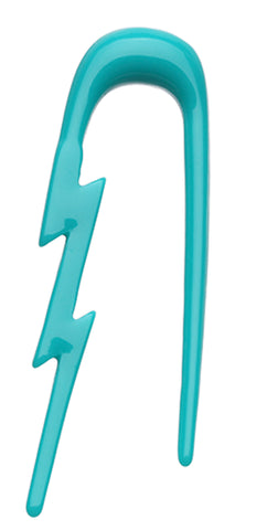 Lightning Bolt Acrylic Ear Gauge Buffalo Taper - 8 GA (3.2mm) - Teal - Sold as a Pair