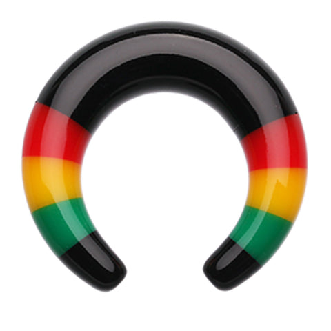 Rasta Stripes Acrylic Ear Gauge Buffalo Taper - 0 GA (8mm)  - Sold as a Pair