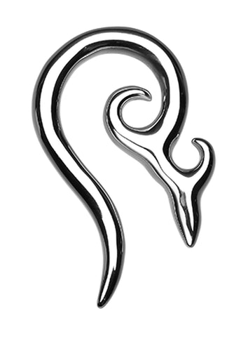 Devil's Horn 316L Surgical Steel Ear Gauge Spiral Hanging Taper - 0 GA (8mm)  - Sold as a Pair