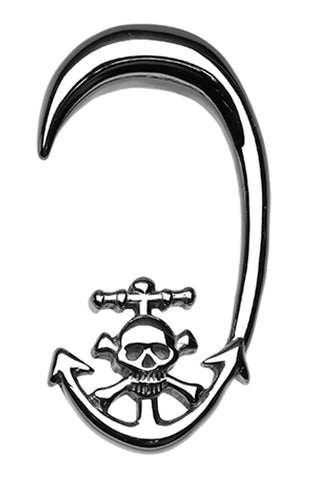 Skull Pirate's Dock 316L Surgical Steel Ear Gauge Hanging Taper - 2 GA (6.5mm)  - Sold as a Pair