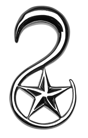 Nautical Star 316L Surgical Steel Ear Gauge Hanging Taper - 2 GA (6.5mm)  - Sold as a Pair