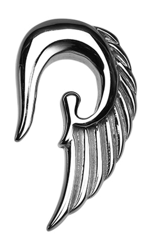 Fallen Angel Wing 316L Surgical Steel Ear Gauge Hanging Taper - 8 GA (3.2mm)  - Sold as a Pair