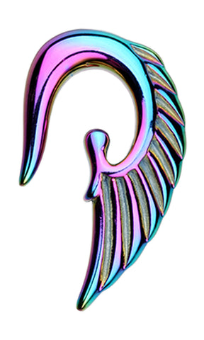 Colorline Fallen Angel Ear Gauge Hanging Taper - 14 GA (1.6mm) - Rainbow - Sold as a Pair