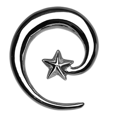 Falling Star 316L Surgical Steel Ear Gauge Spiral Hanging Taper - 10 GA (2.4mm)  - Sold as a Pair