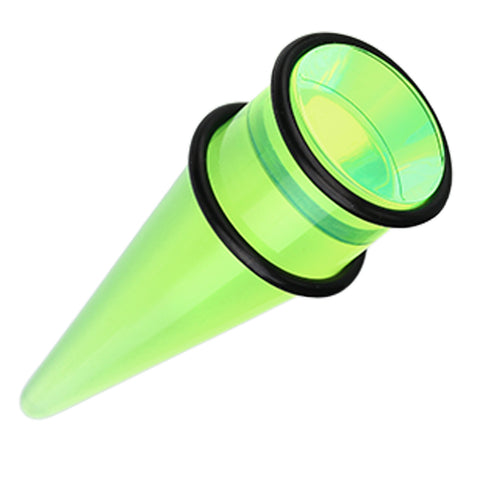 "Shorty UV Acrylic Ear Stretching Taper - 3/4"" (19mm) - Green - Sold as a Pair"