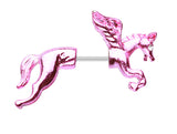 Colorline Unicorn Fake Taper Earring - 20 GA (0.8mm) - Pink/Clear - Sold as a Pair