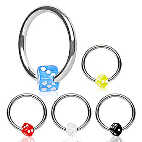 "316L Surgical Steel Captive Bead Ring with UV Dice Ball - 16GA Black L:3/8"" B:4mm - Sold as a Pair"