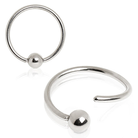 "316L Surgical Steel One side fixed Captive Bead Ring - 14GA L:3/8"" B:4mm - Sold as a Pair"