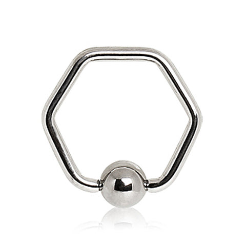"316L Surgical Steel Hexagon Captive Bead Ring - 16GA L:1/2"" B:5mm - Sold as a Pair"