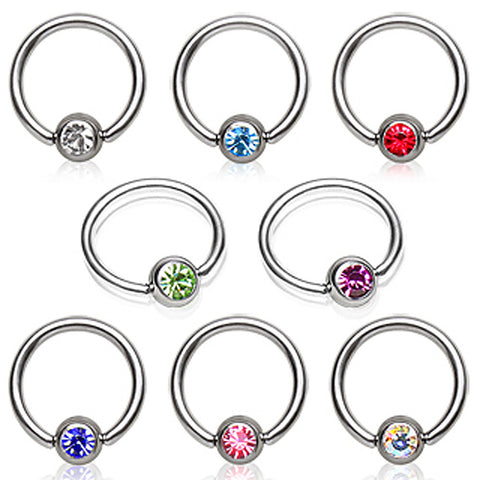 "316 Surgical Steel Captive Bead Ring with Glass/Gemmed Dimple Ball - 16GA Pink L:3/8"" B:3mm - Sold as a Pair"