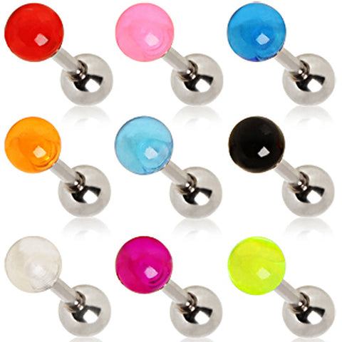 316L Surgical Steel Cartilage Earring with UV Ball