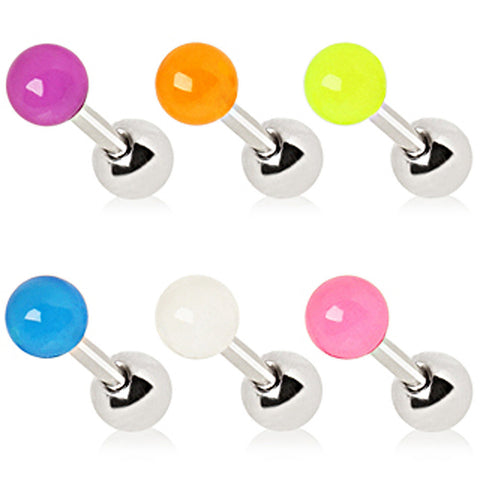 "316L Surgical Steel Cartilage Earring with Glow in the Dark Ball - 16GA White L:1/4"" B:4mm - Sold as a Pair"