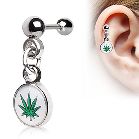 316L Surgical Steel Cartilage Earring with Dangling Pot Leaf Logo