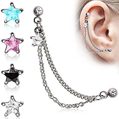 "Star 316L Surgical Steel Double Chained Cartilage Earring - 16GA Clear L:1/4"" B:4mm - Sold as a Pair"