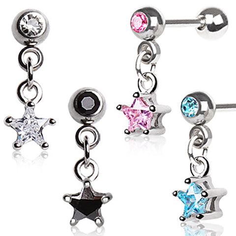 "316L Surgical Steel Star Dangle Cartilage Earring - 16GA Aqua L:1/4"" B:4mm - Sold as a Pair"
