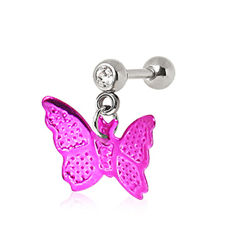 316L Surgical Steel Cartilage Earring with Hot Pink Butterfly Dangle