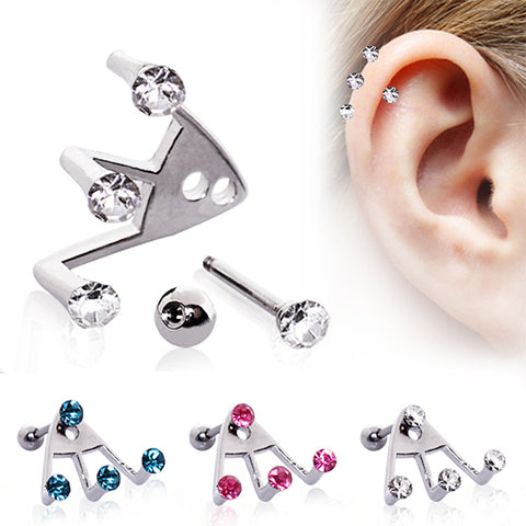 "316L Surgical Steel ?Trident Triple? Round CZ Cartilage Earring - 16GA Pink L:1/4"" - Sold as a Pair"