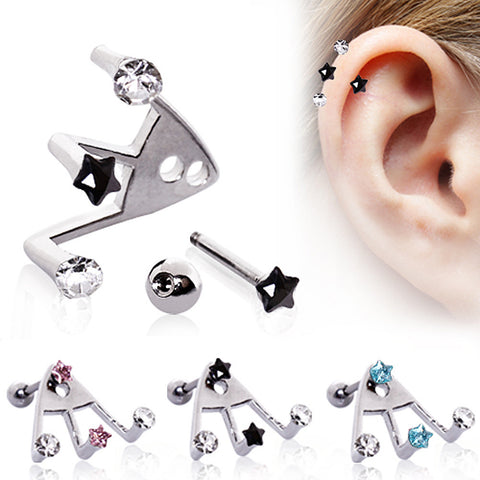 "316L Surgical Steel ?Trident Triple? Star & Round CZ Cartilage Earring - 16GA Clear/Black L:1/4"" - Sold as a Pair"