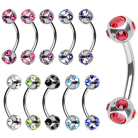 "316L Surgical Steel Eyebrow Ring with Muti Glass/Gem Ball - 16GA Pink L:5/16"" B:4mm - Sold as a Pair"