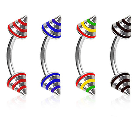 "316L Surgical Steel Eyebrow Ring with 3 Stripe Spikes - 16GA Red L:5/16"" B:4mm - Sold as a Pair"