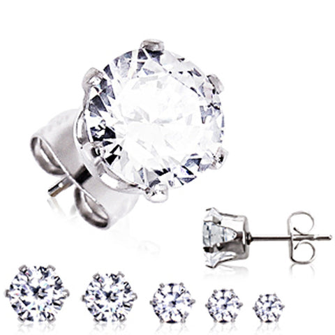 Pair of 316L Surgical Steel Clear Round CZ Stud Earrings - 20GA Clear B:5mm - Sold as a Pair