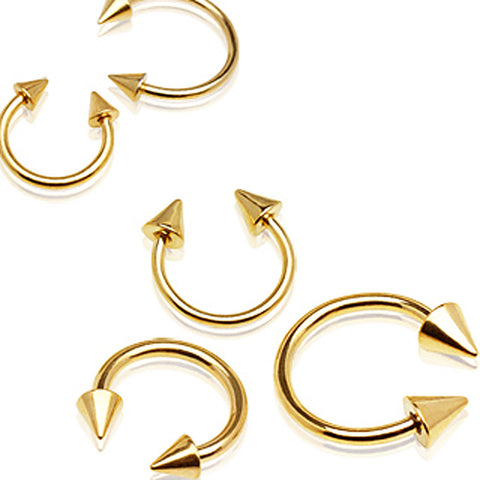 "Gold Plated 316L Surgical Steel Horse Shoes with Spikes - 14GA L:3/8"" B:4mm - Sold as a Pair"