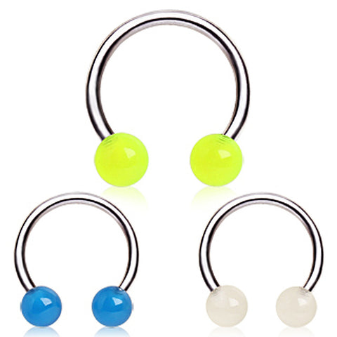 "316L Surgical Steel Horse Shoe with Glow in the Dark Balls - 16GA Green L:3/8"" B:4mm - Sold as a Pair"