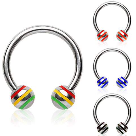 "316L Surgical Steel Horse Shoes with 3 Striped Ball - 16GA Black L:3/8"" B:4mm - Sold as a Pair"